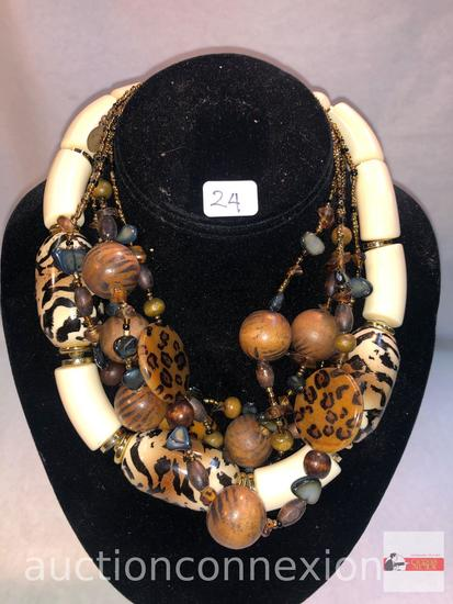 Jewelry - 2 Necklaces, signed, faux turtle shell and beaded & African animal beaded