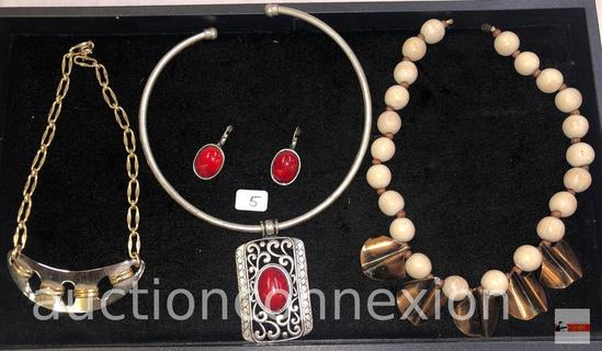 Jewelry - 3 necklaces, 1 with matching earrings