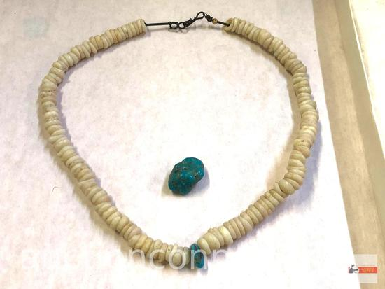 "Jewelry - Necklace, 11"", small white stones w/ 1 turquoise stone and 1 turquoise stone trade bead"