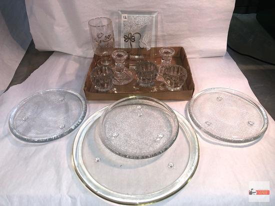 Glassware - Candle holders and 2 - 50th anniversary collectibles