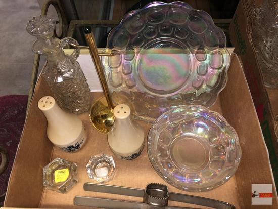 Glassware - Iridescent plate and bowl, cruet, salt/pepper shakers, 2 salt dip bowls, corn cob cutter