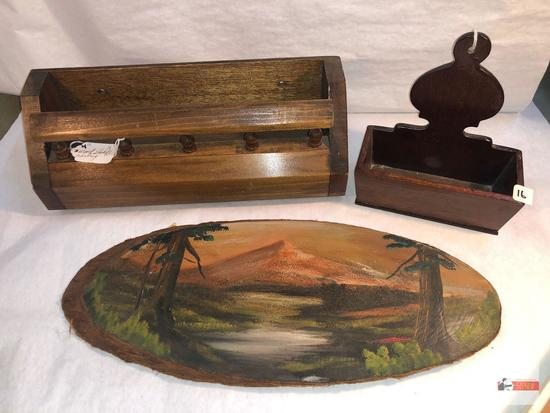"3 wooden items - oval artwork hand painted 16""wx6.5""h, Wooden shelf rack 12.5""wx4.75""h & wooden wall"