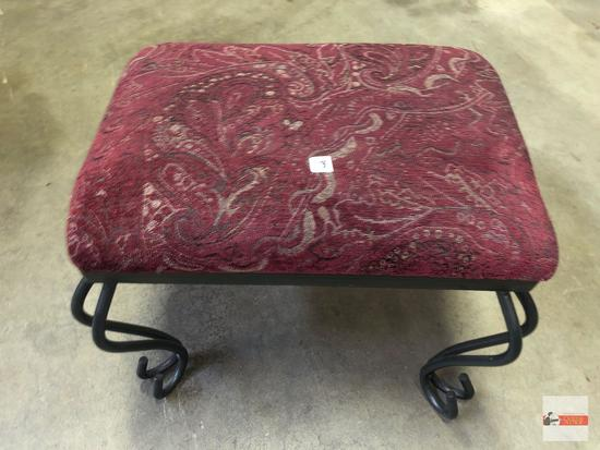 "Footstool - upholstered & padded top with iron curved legs, 18""wx15""dx14""H"