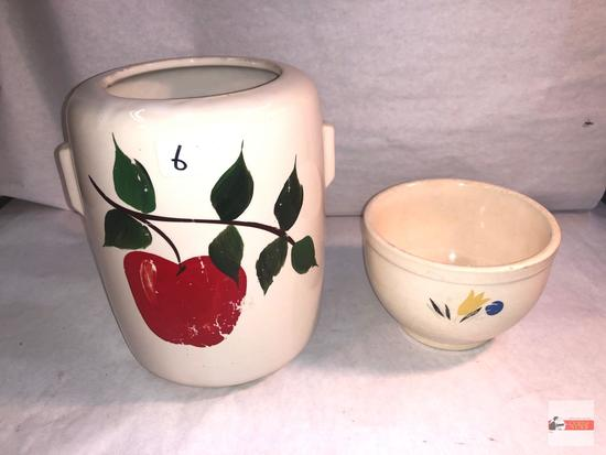 Pottery - 2 - cookie jar and bowl