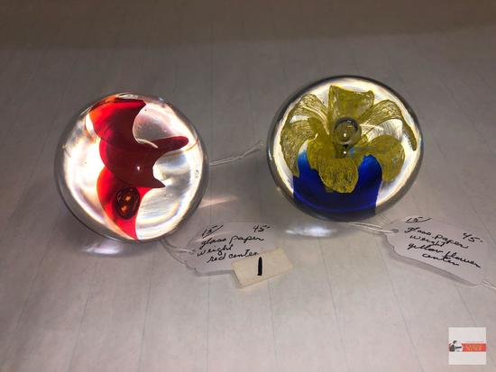 """Paperweights - 2 art glass paperweights, red swirl 2.75""""h, Yellow flower w/blue base 2.5""""h"""
