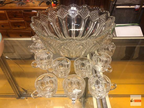 """Glassware - Punch bowl and 11 cups, 14.25""""wx7.25""""h"""