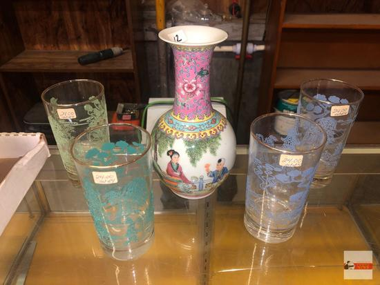 """Asian items - 5 - Vase (chipped lip) 8""""h, 4 tumblers 5.25""""h"""