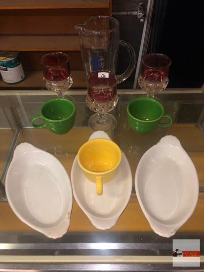 """Dish ware - 10 items - 3 Hall oval dishes 9.25""""wx5""""w, 3 Fiesta cups 2.75""""h, 3 Ruby flash goblets 5.5"""
