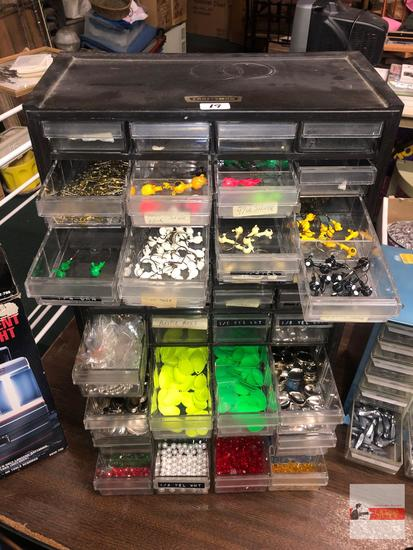 """Fishing - Craftsman 40 drawer Organizer, 12.75""""wx6.5""""dx20""""h with beads, flashers, spinners, hooks"""