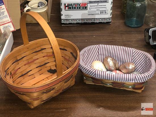 2 Baskets - 1 Longaberger and 7 decor eggs