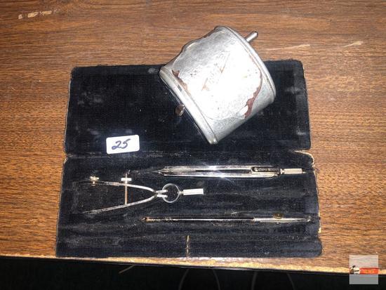 Esero Drafting tool set orig. case, vintage Twinplex double pencil sharpener