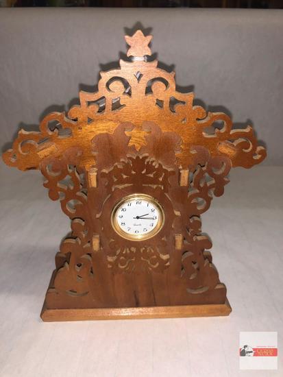 """Clock - Wooden dresser clock, 8""""h"""