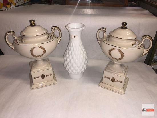 "Collectibles - 3 - white milk glass vase 9.5""h and 2 porcelain trophy decor 11""h"