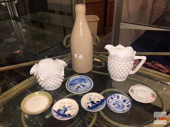 "Collectibles - 9 - pottery bottle 8.5""h, white hobnail milk glass sugar 3""h & creamer 4""h, 4 Delft"