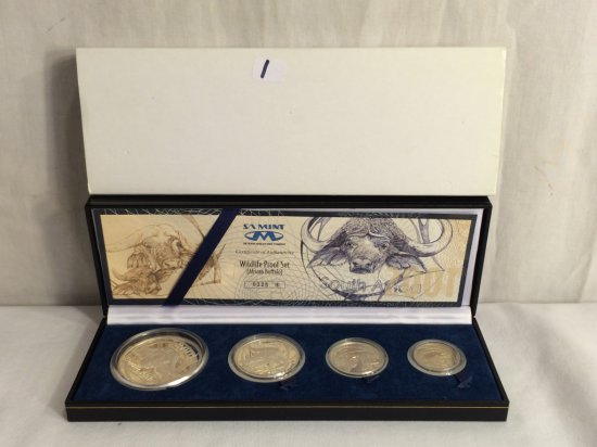 Collector 2001 Silver South Africa Wildlife Series African Buffalo Four Coin Proof Set W/COA 0325