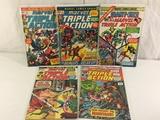 Lot of 5 Pcs Collector Vintage Marvel Triple Action Comic Books No.1.5.9.11.12.