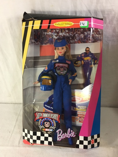 "NIB Collector NASCAR 50th Anniversary Barbie Doll Box: 13.5""x9"""