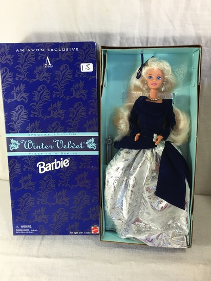 "NIB Collector Avon Exclusive Winter Velvet Barbie Doll Box: 13""x6"""