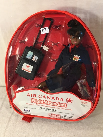 NIB Collector Daron Air Canada Fligh Attendant Doll in backpack case