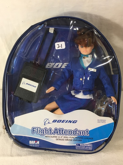 NIB Collector Daron Boeing Flight Attendant Doll in backpack case