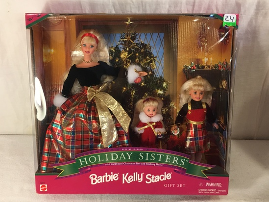 "NIB Collector Holiday Sisters Barbie Kelly Stacie Doll Giftset Box: 13""z14"""