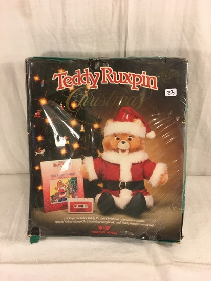 "Collector Vintage WOW Teddy Ruxpin Christmas Includes: Cassette, Story Book & Santa Suit Box: 13""x11"
