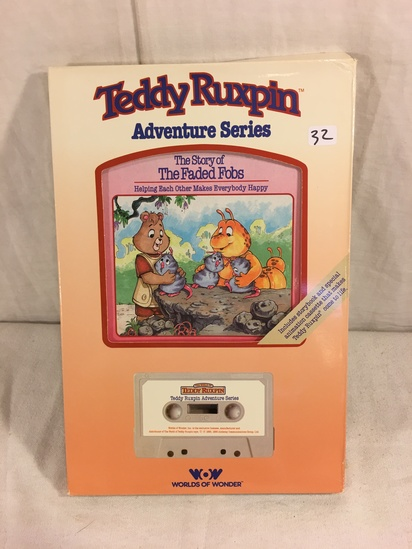 """Collector Vintage 1985 Alchemy II WOW Teddy Ruxpin """"The Story of Faded Fobs"""" Cassette Tape & Storybo"""