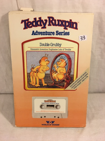 "Collector Vintage 1985 Alchemy II WOW Teddy Ruxpin ""Double Grubby"" Cassette Tape & Storybook in Box"
