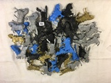 Collector Marx Toys Assorted Black, Blue, Gold & Silver Medieval Horses Action Posed Plastic Model T