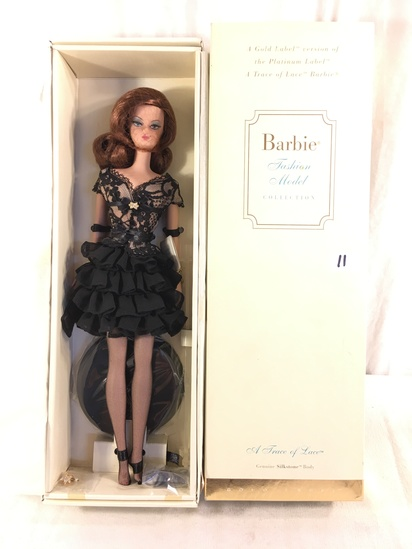 "NIB Collector Genuine Silkstone Body Gold Label ""A Trace of Lace"" Fashion Model Barbie Doll Box: 13."