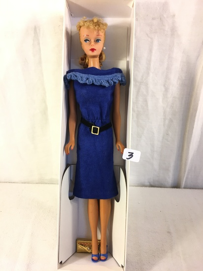 Collector Vintage 1961 Blonde Ponytail Barbie Doll in Blue Dress Outfit