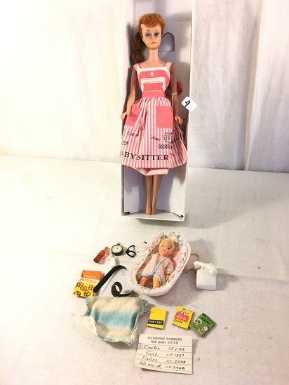 "Collector Vintage 1961 Titian Hair Ponytail Barbie Doll #6 in ""Baby-Sits"" #953 Outfit"