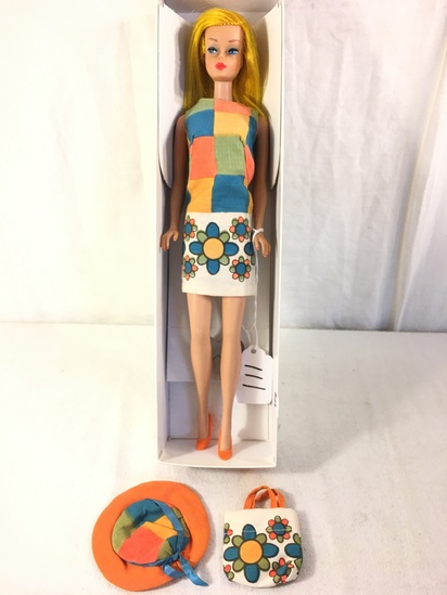 "Collector Vintage 1966 Golden Blonde Color Magic Barbie Doll in ""Pretty Wild"" #1777 Outfit"