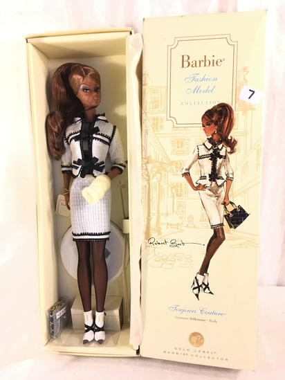 "NIB Collector Genuine Silkstone Body Gold Label ""Joyours Couture"" Fashion Model Barbie Doll Box: 13."