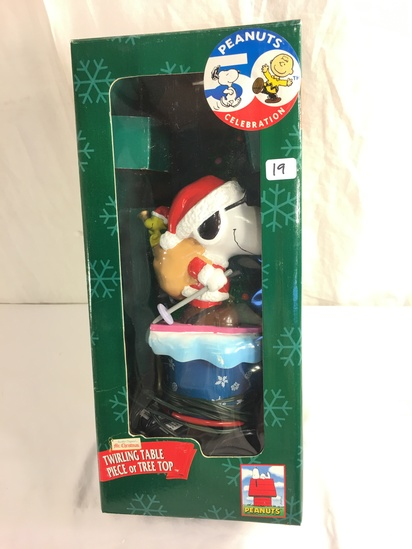 """Collector Peanuts Celebration Twirling Table Piece Of Tree Top Figurine Box Size: 13""""tall Box"""