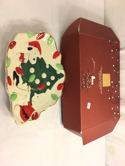 """Collector Lenox Peanuts Snoopy's Christmas Canape Plate Box Size:12.7/8"""" by 9"""" Box Size"""