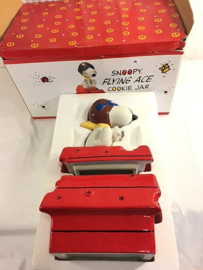 """Collector Peanuts Snoopy Flying Ace Cookie Jar Box Size: 15.5x9.5x8.5"""" Box"""