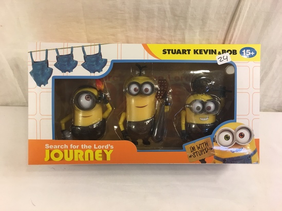 """NIB Collector Minions Search for the Lord's Journey Stuart Kevin & Bob Action Figure 12.5x6.5"""" Box S"""