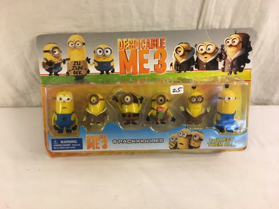 """NIP Collector Despicable Me 3 Minion Mini  6 Pack Figures Size: 3-4""""Tall/each"""