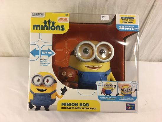 "NIB Collector Illumination Entertainment Movie Exclusive Minion Bob Interacts W/Teddy Bear 9x10"" Box"