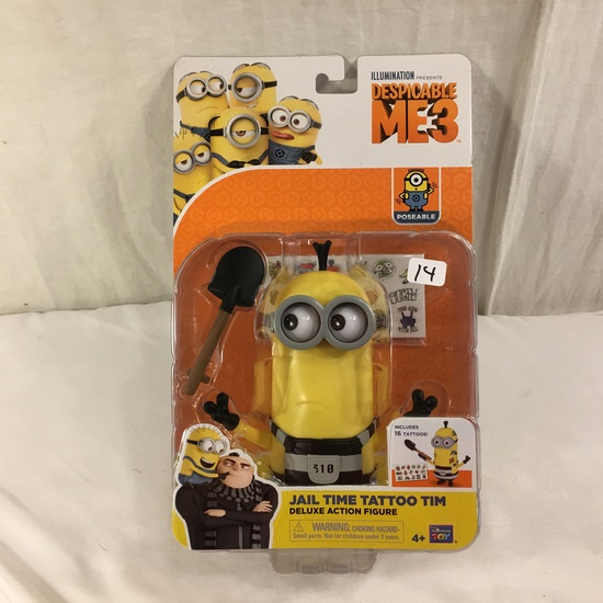 """NIB Illumination Ent. Minions Deluxe Action Figure Despecable Me 3 Jail Time Tattoo Tim 6-7"""""""