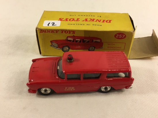 Collector Vintage Dinky Toys No.257 Fire Chief's Car Made in England By meccano Ltd. W/Box