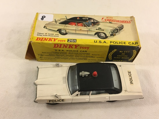 Collector Vintage Dinky Toys No.251 U.S.A. Police Car Exciting Scale Model Made in England W/Box