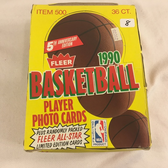 Box has Been Opened- But, each Package Still Sealed - 1990 Fleer Basketball Player Photo Sport Tradi