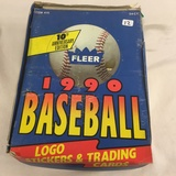 Box has Been Opened- But, each Package Still Sealed - 1990 Fleer Baseball Logo  Stickers & Trading C