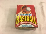 Box has Been Open- But, each Package Still Sealed - 1991 Fleer Baseball Stickers & Trading Sport Car