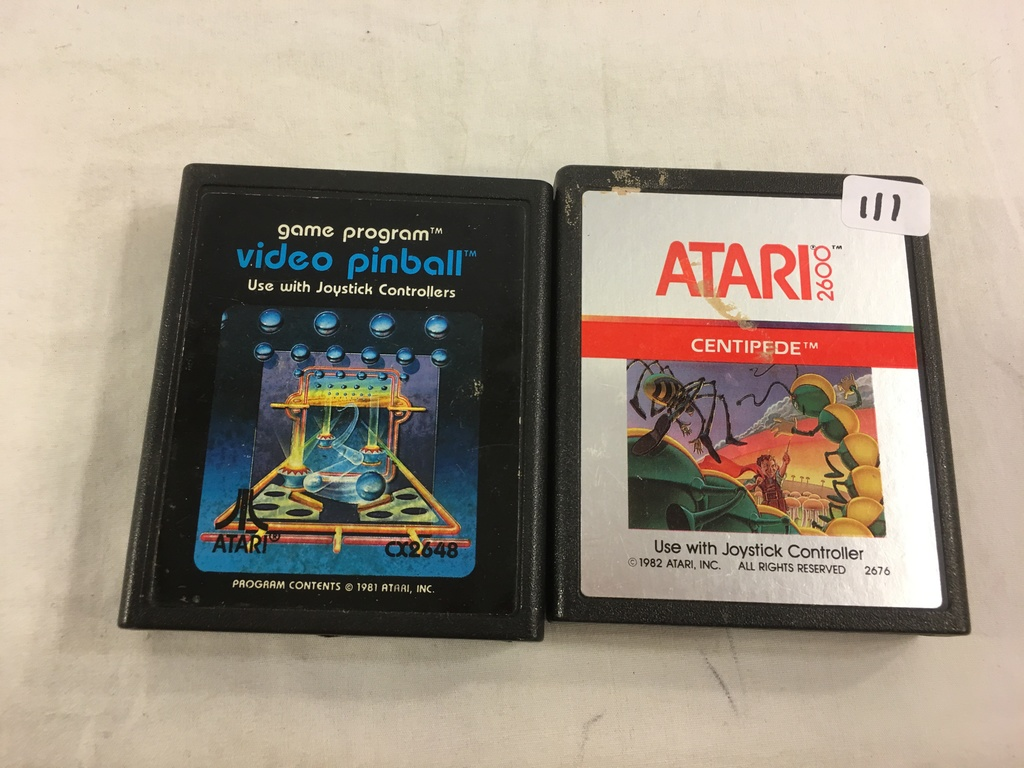 Lot Of 2 Pieces Collector Vintage Atari Cartridge Game Centipede Video Pinball Art Antiques Collectibles Collectibles Vintage Arcade Coin Op Machines Pinball Machines Online Auctions Proxibid
