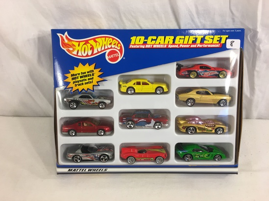 Collector NIP Hot Wheels 10-Car Gift Set Speed Power And Performance Mattel Wheels 1/64 Scale