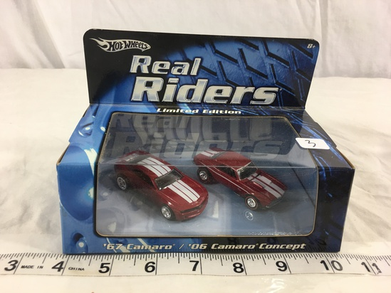 NIP Collector Hot wheels Real Riders Limited Edition '67 Camaro/06 Camaro Concept 1/64 Scale