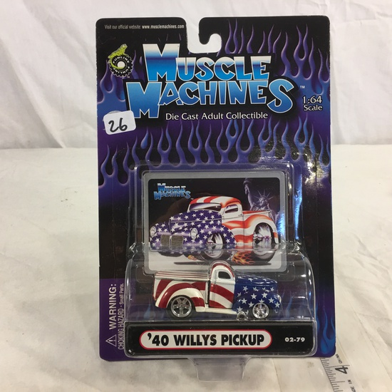 NIP Collector Funline Muscle Machines Diecast Metal '40 Willys Pickup 1/64 Scale